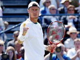 Lleyton Hewitt celebrates after beating opponent Juan Martin Del Potro during their quarter final match at Queens on June 14, 2013