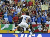 Italy's Andrea Pirlo celebrates scoring the opening goal during the soccer Confederations Cup group A match against Mexico on June 16, 2013