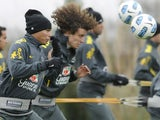 Brazilian internationals David Luiz and Thiago Silva in training on June 23, 2011