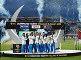 India celebrate their ICC Championship win over England on June 23, 2013