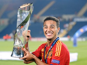 Spain's Thiago celebrates winning the u21 Euro Champs on June 18, 2013