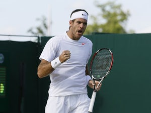 Juan Martin Del Potro of Argentina reacts after winning his Men's singles match against Grega Zemlja of Slovenia at the Wimbledon Tennis Championships on June 29, 2013