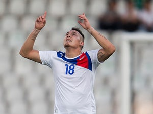Chile's Nicolas Castillo celebrates moments after scoring the opener against Croatia during the U20 World Cup on July 3, 2013