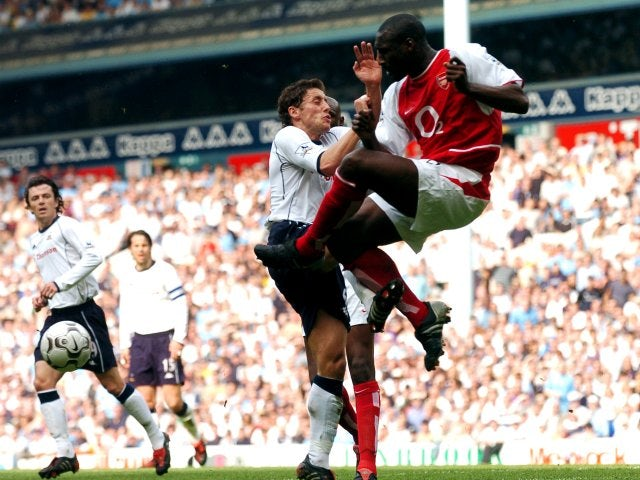 Sol Campbell in action for Arsenal away at Tottenham Hotspur.