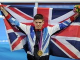 Team GB's Luke Campbell celebrates his gold medal win at London 2012 on August 11, 2012