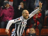 St Mirren's Sam Parkin celebrates a goal against Aberdeen on October 30, 2012