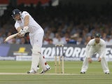 England's Tim Bresnan plays a shot off the bowling of Australia's Peter Siddle during day three of the second Ashes Test on July 20, 2013