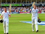 Ian Bell and Stuart Broad leave the field at the conclusion of day three at Trent Bridge.