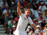 Stuart Broad celebrates after taking Michael Clarke's wicket during day four of the First Ashes Test match at Trent Bridge on July 13, 2013