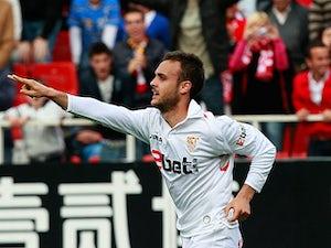 Sevilla's Cala celebrates his goal on April 17, 2010