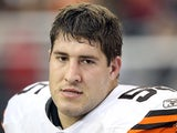 Cleveland Browns' Alex Mack on the sidelines during a game on December 18, 2011