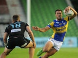 Leeds Rhinos' Joel Moon on the attack during the match against London Broncos on August 1, 2013