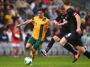 Ryan Williams of Australia in action during the Under 20 International friendly match between the Australian Young Socceroos and the New Zealand Junior All Whites on June 10, 2013