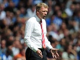 Manchester United manager David Moyes on the touchline during the Community Shield match against Wigan on August 11, 2013