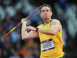 Jarrod Bannister competes in the Men's Javelin during the London 2012 Olympics Games on August 8, 2012