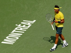 Rafa Nadal in action at the Rogers Cup on August 7, 2013