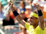 Rafael Nadal celebrates his win over Jerzy Janowicz during the Rogers Cup on August 8, 2013