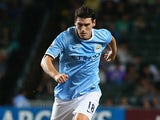 Mancester City's Gareth Barry in action against Sunderland during a friendly match on July 27, 2013