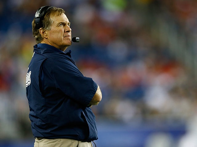 New England Patriots head coach Bill Belichick on the sidelines during the game against Tampa Bay Buccaneers on August 16, 2013