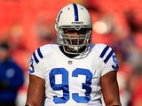 Indianapolis Colts' Dwight Freeney during a warm up before the game against Kansas City Chiefs on December 23, 2012