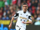Pablo Hernandez of Swansea City during the Barclays Premier League match between Swansea City and Manchester United at the Liberty Stadium on August 17, 2013