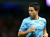 Samir Nasri of Manchester City during the Barclays Premier League match between Manchester City and Newcastle United at the Etihad Stadium on August 19, 2013