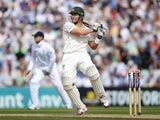 Australia all-rounder Shane Watson plays a pull shot on day one of the fifth Investec Ashes Test against England at The Oval on August 21, 2013