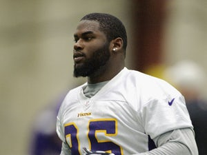 Sharrif Floyd #95 of the Minnesota Vikings looks on during a rookie minicamp on May 3, 2013