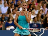 Camila Giorgi of Italy celebrates victory during her women's singles third round match against Caroline Wozniacki of Denmark on Day Six of the 2013 US Open at the USTA Billie Jean King National Tennis Center on August 31, 2013