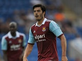James Tomkins of West Ham United during the Pre Season Friendly match between Colchester United and West Ham United at Colchester Community Stadium on July 16, 2013