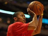 Chicago Bulls' Derrick Rose warms up before a game with Philadelphia on February 8, 2013