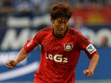 Leverkusen's South Korean striker Heung Min Son plays the ball during the German first division Bundesliga football match FC Schalke 04 vs Bayer Leverkusen in the western German city of Gelsenkirchen on August 31, 2013