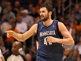 Minnesota Timberwolves forward Kevin Love celebrates after hitting a three-pointer against the Phoenix Suns on March 12, 2012