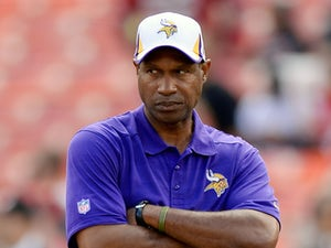 Head Coach Leslie Frazier of the Minnesota Vikings looks on while his team warms up during pre-game warm ups prior to playing the San Francisco 49ers at Candlestick Park on August 25, 2013