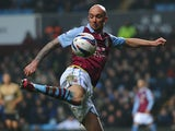 Aston Villa midfielder Stephen Ireland controls the ball in the League Cup semi-final against Bradford on January 22, 2013