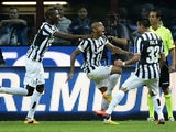 Juventus midfielder Arturo Vidal celebrates a goal against Inter on September 14, 2013