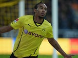 Dortmund forward Emerick Aubameyang celebrates a goal against Hamburg on September 14, 2013