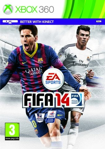 The FIFA 14 front cover with Gareth Bale and Lionel Messi.
