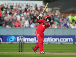 England batsman Michael Lumb hits a six during the 2nd NatWest series T20 match between England and Australia at Emirates Durham ICG on August 31, 2013