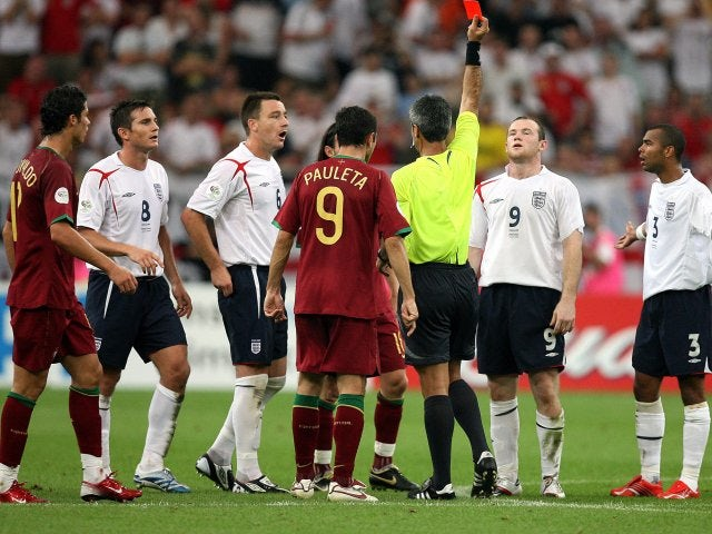 Wayne Rooney is sent off during England's 2006 World Cup quarter-final defeat to Portugal.