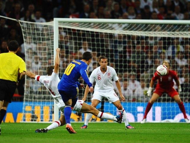 Yevhen Konoplianka scores for Ukraine against England at Wembley in September 2012.