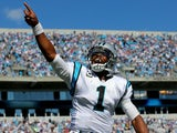 Panthers QB Cam Newton celebrates a touchdown pass against the New York Giants on September 22, 2013