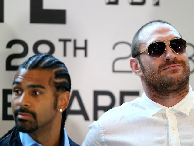 David Haye and Tyson Fury at a press conference on July 11, 2013