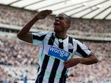 Newcastle's Loic Remy celebrates a goal against Hull on September 21, 2013
