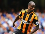 Hull's Sone Aluko in action against Chelsea during their Premier League match on August 18, 2013