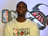 Miami Heat's Chris Bosh at a news conference on July 17, 2013