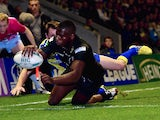 Jermaine McGilvary scores a second half try durng the Super League Qualifying Semi Final between Warrington Wolves and Huddersfield Giants on September 26, 2013