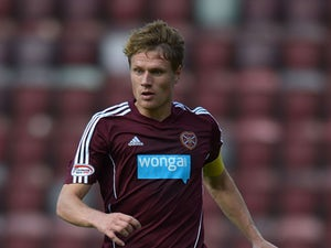 Marius Zaliukas of Hearts during the Clydesdale Bank Scottish Premier League match between Hearts and Dundee at Tyncastle Stadium on September 2, 2012