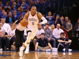 Russell Westbrook of the Oklahoma City Thunder in action on April 24, 2013