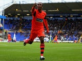Bolton's Neil Danns celebrates a goal against Birmingham on October 5, 2013